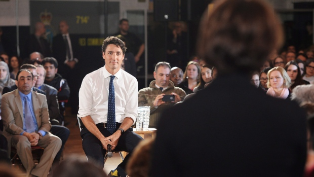 Prime Minister Justin Trudeau listens to a question during a town hall in Sherbrooke, Que. (Ryan Remiorz/The Canadian Press)